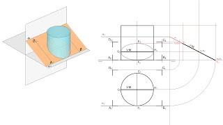Sección De Un Cilindro Por Un Plano Paralelo A LT En Sistema Diédrico