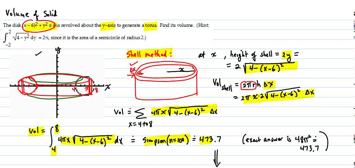 Volume of solid torus two methods youtube volume of solid torus two methods ccuart Gallery