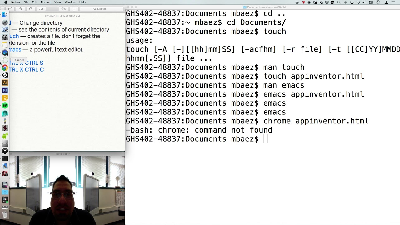 Beginning Bash on terminal and very simple text manipulation on Emacs