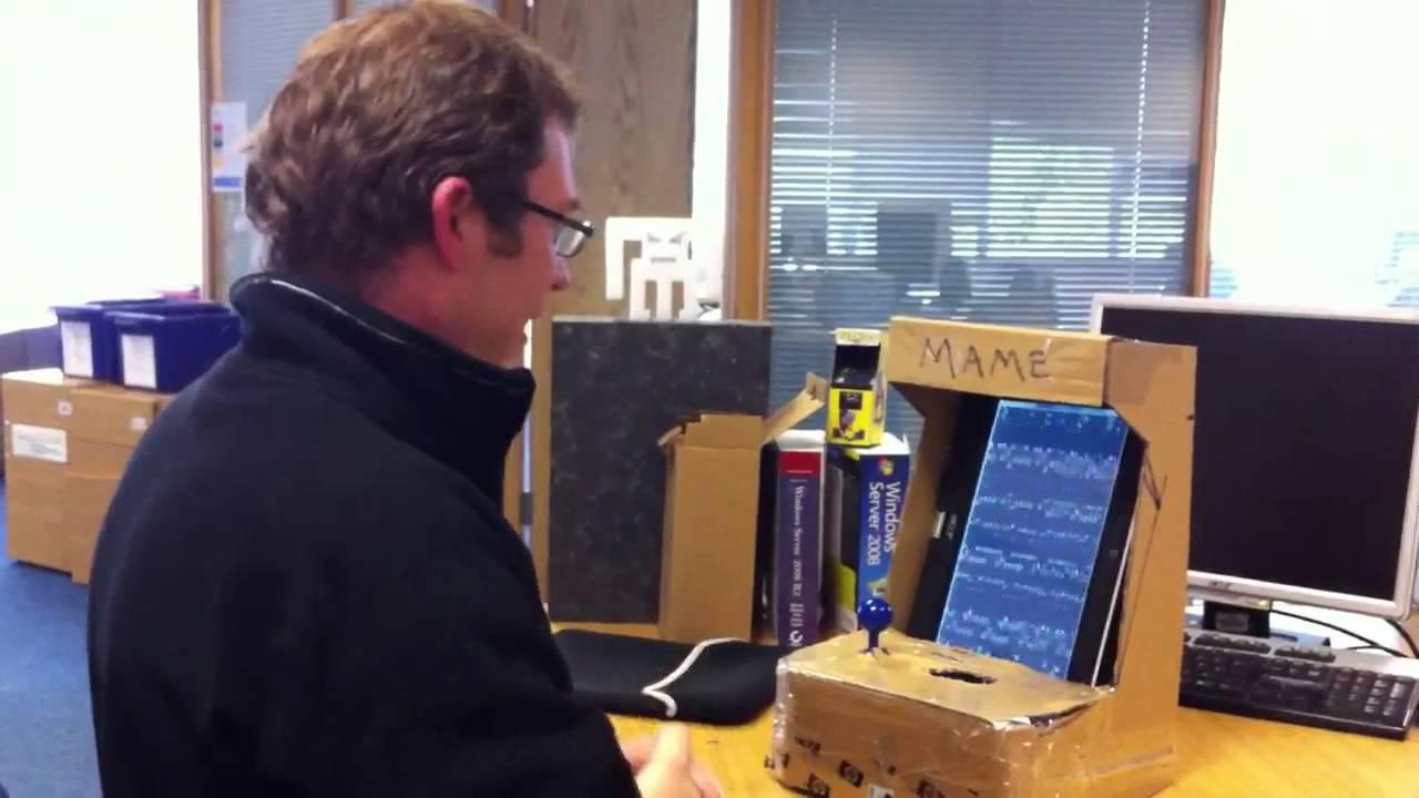 Cardboard mini mini Mame arcade cabinet - YouTube