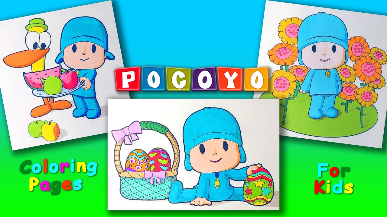 Pocoyo And His Friends Coloring Book Forkids Part 2 Pocoyo Coloring Pages Youtube
