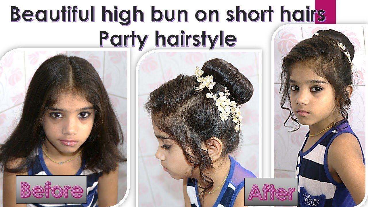 Party Hairstyle High Bun On Short Hairs Easy Diy Youtube