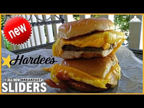 hardee s breakfast sliders review applewood smoked bacon sausage youtube hardee s breakfast sliders review