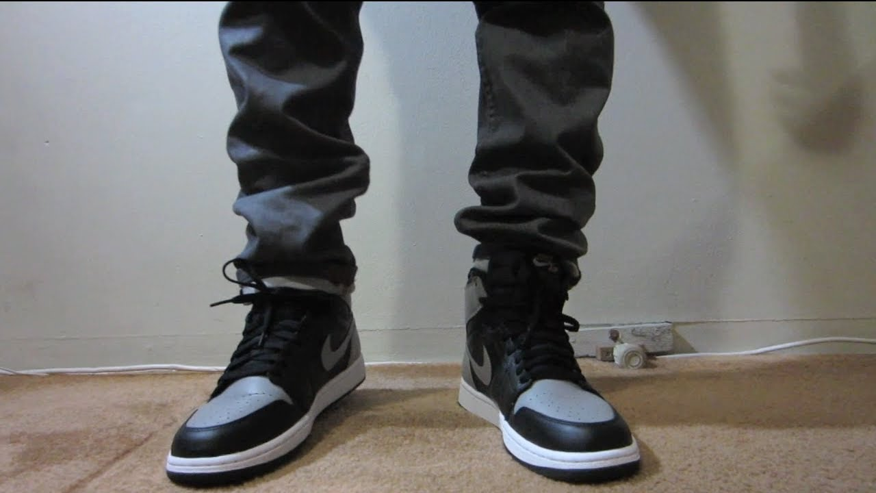 jordan 1 og shadow grey on feet youtube. Black Bedroom Furniture Sets. Home Design Ideas