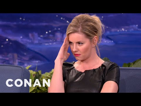 Elisha Cuthbert Stares Down Airplane Pudding Slurper  CONAN on TBS