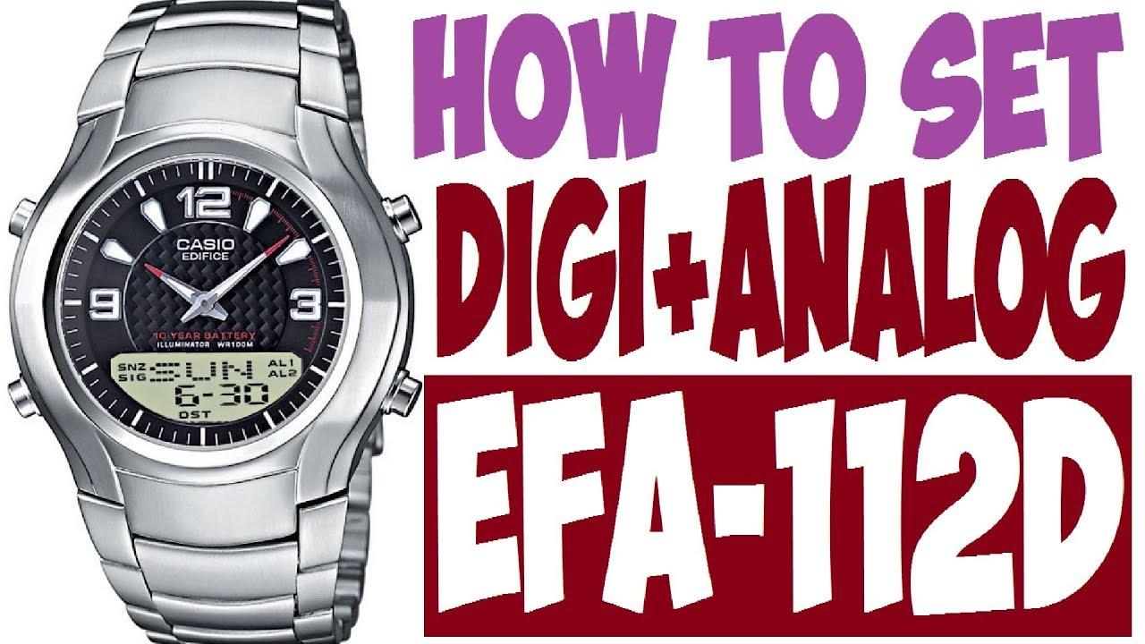 bbab7f6a7410 Setting Casio Edifice EFA-112D manual 2747 to set time - YouTube