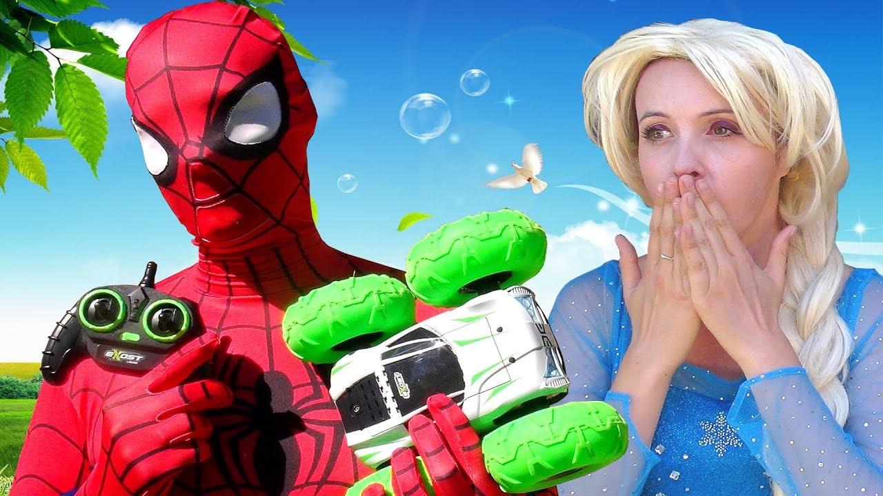 Spiderman Et Elsa La Reine Des Neiges Jeux Voiture