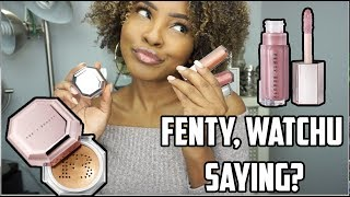FENTY BEAUTY FAIRY BOMB SHIMMER POWDER & FU$$Y LIPGLOSS REVIEW & DEMO | KENMAS DAY 12