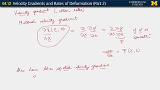 04.12. Velocity gradients, and rates of deformation