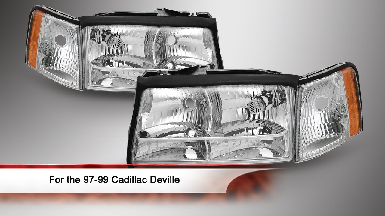 97 99 cadillac deville 4 piece sets oem style headlights with corner parking lights [ 1280 x 720 Pixel ]