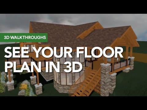 Log Home 3D Walkthrough - with Free floor plans