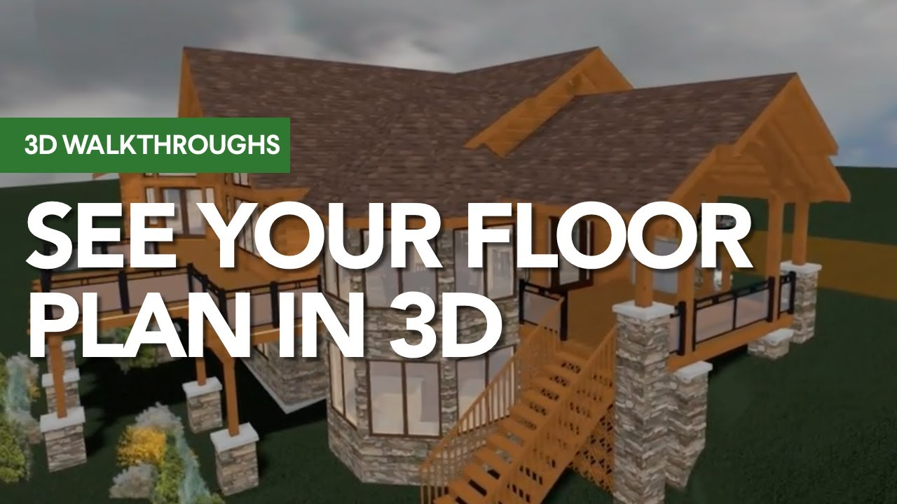 Log home 3d walkthrough with free floor plans youtube for 3d house walkthrough