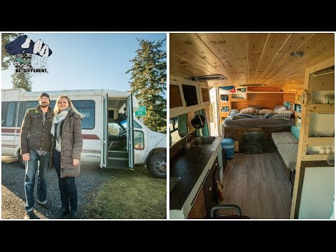 Bus Transformed into Beautiful Studio Apartment using Recycled Materials. Tiny House Tour in 4K