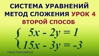 Система линейных уравнений  Метод сложения  Урок 4  Второй способ