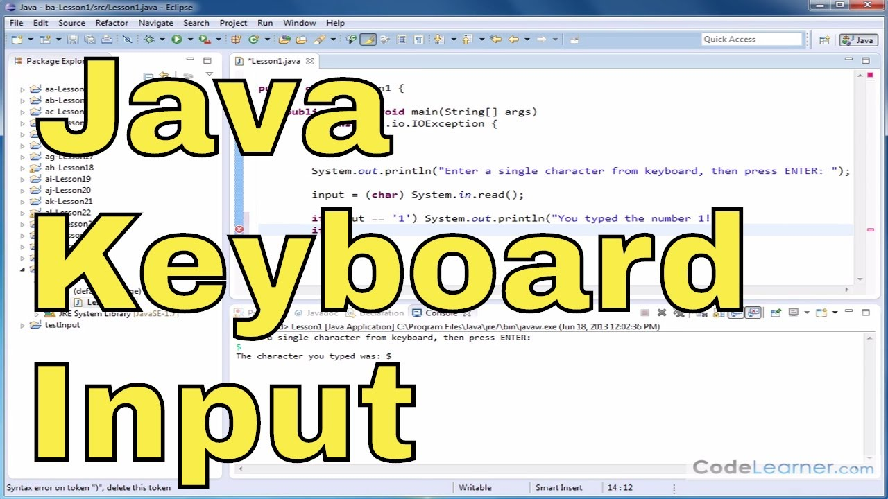Java Tutorial - 01 - Keyboard Input Using System in Read