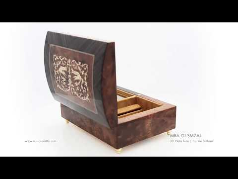 Handcrafted Music Jewelry Box: Arabesque Inlay With Rosewood Border