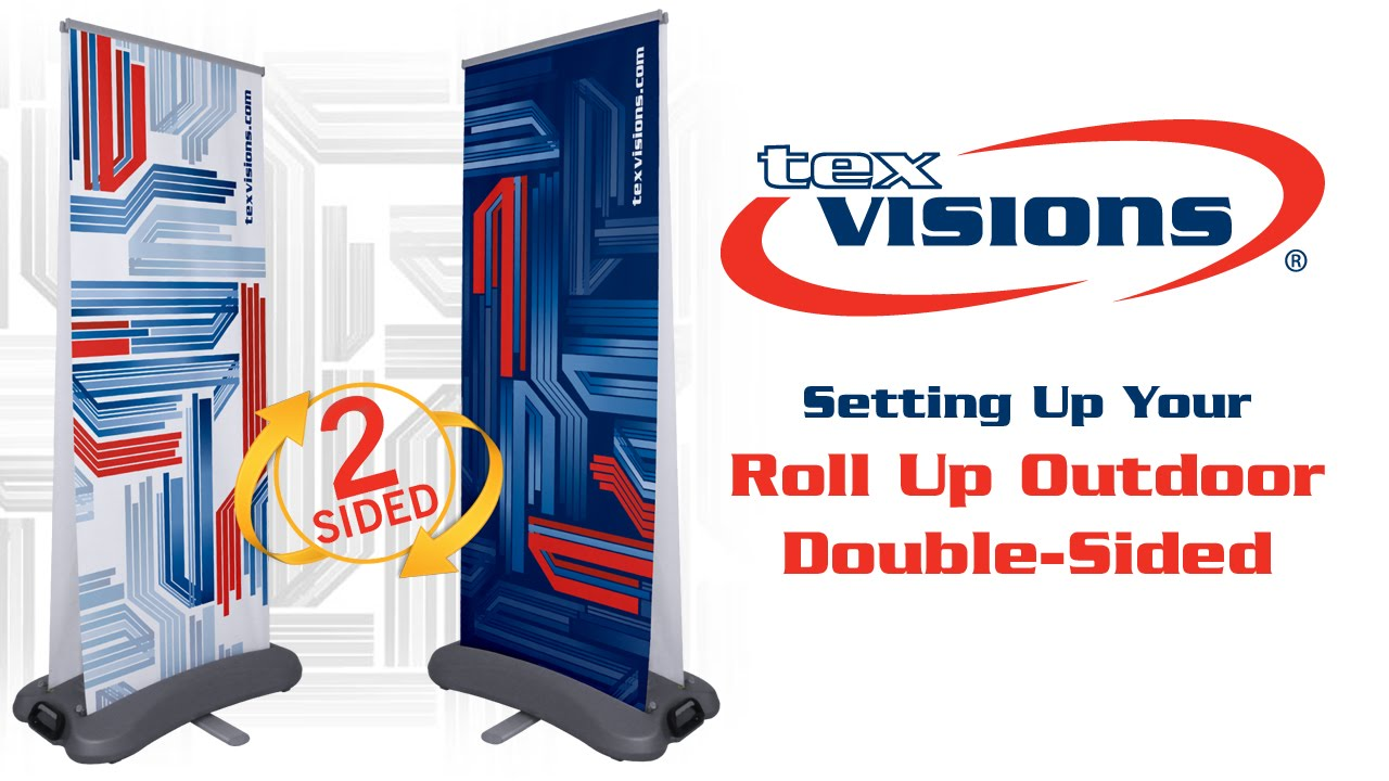 Roll Up Outdoor Double-Sided Retractable Banner Stand Setup - YouTube