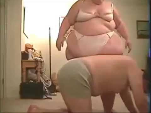 Fat lady working out