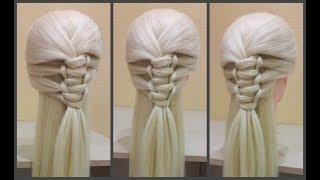 Красивое плетение волос(легкая схема плетения кос)Beautiful hair weaving(easy braid braiding scheme)