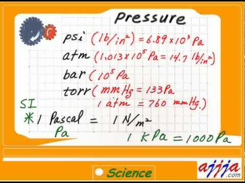 Science - Pressure 2 Pascal psi atm bar torr