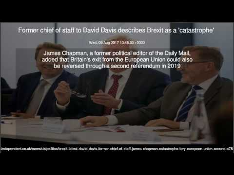 Former chief of staff to David Davis describes Brexit as a 'catastrophe'
