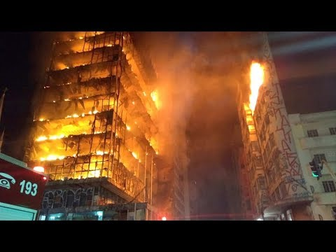 Blazing skyscraper collapses in Brazil's Sao Paulo