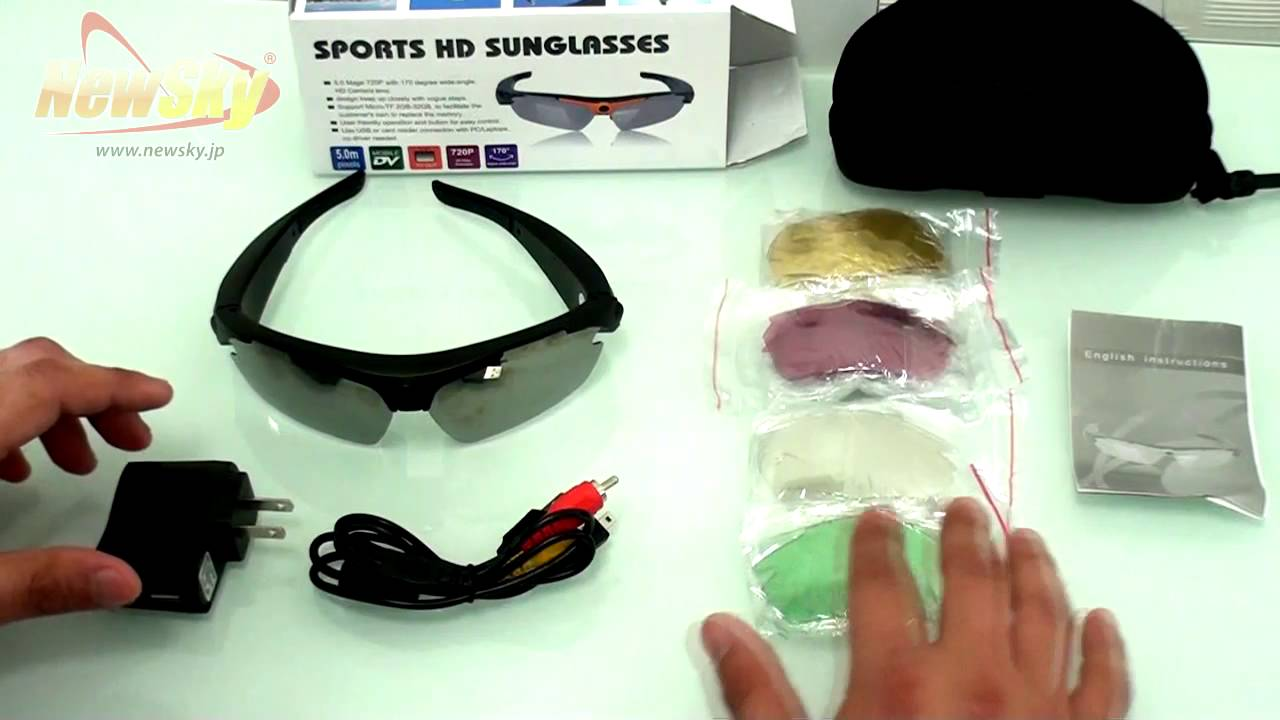 f7eee9cffa339 Óculos espião c  Câmera Embutida e Memória de 8GB 720P 170º Wide Camera  Sport Sunglasses