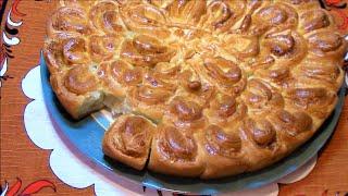 Пирог хризантема с мясной начинкой ./Пирог рецепт ./Тесто для пирога ./Дрожжевой пирог .