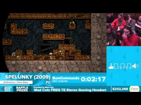 Spelunky by BumCommando, Kinnijup in 25:14 - Awesome Games Done Quick 2016 - Part 42
