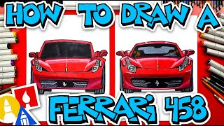 How To Draw A Ferrari 458 (Front View)