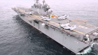 US Navy Newest Amphibious Assault Ship (LHA-6) Loaded with MV-22 Osprey &  Helicopter