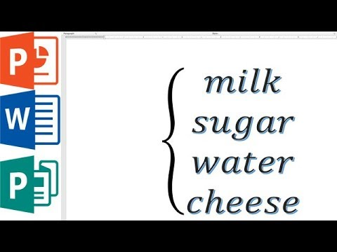 How to make left curly bracket encompass multiple lines MS word \  PowerPoint \ publisher
