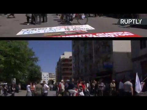 Manifestation contre la réunion des ministres des Finances du G7 à Bari (Direct du 13.05)