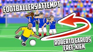 💥Roberto Carlos Free-Kick!💥  Footballers Attempt: Starring The Frontmen! (Ronaldo Messi +more)