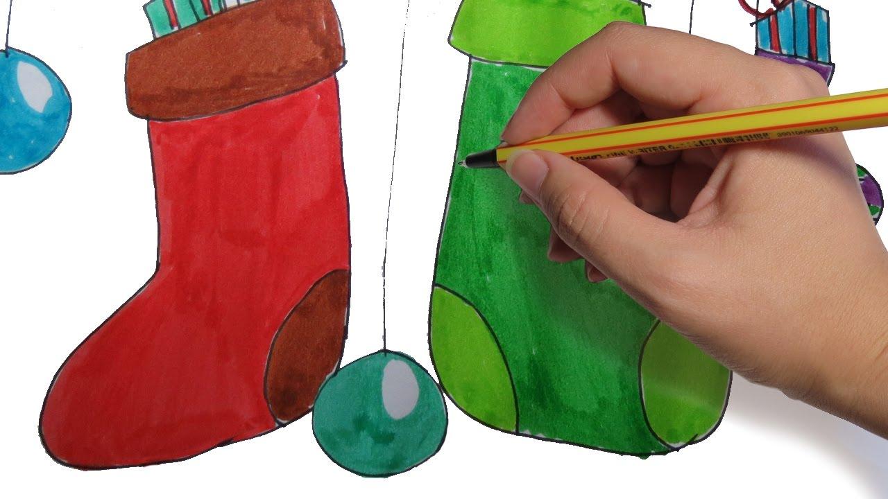 Como Decorar Calcetines Para Navidad.Como Dibujar Calcetines Navidenos Para Decorar Facil Paso A Paso Para Navidad