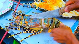 Thai Street Food - Giant RAINBOW LOBSTER + Monster Seafood in Hua Hin, Thailand