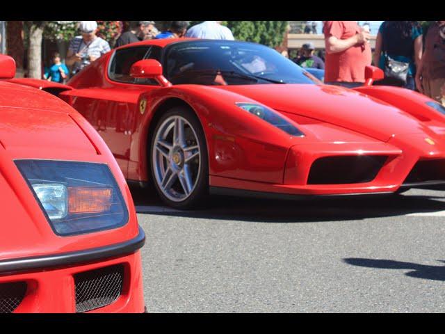 Exotics at RTC Ferrari Day 2015 Accelerations, Drifts, Revs! LaFerrari, Enzo, 250 GTO!