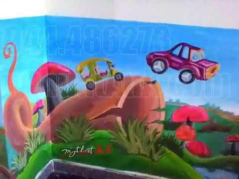Vẽ tranh tường trường mầm non Ngôi nhà mơ ước ở Q.7, TPHCM