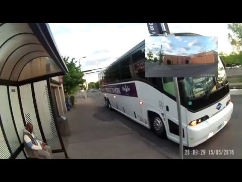 mystic lake casino bus parked in the bike lane + illegal pass + attempted education