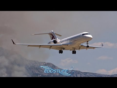 Wildfire Landing Approach - Qatar Executive Bombardier Global Express XRS -  Split Airport LDSP/SPU