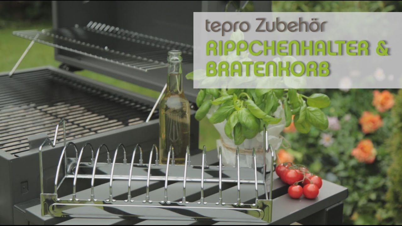 tepro grillzubeh r 2 in 1 rippchenhalter und bratenkorb youtube. Black Bedroom Furniture Sets. Home Design Ideas