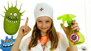 Polina juega como un médico - Hand Wash Story