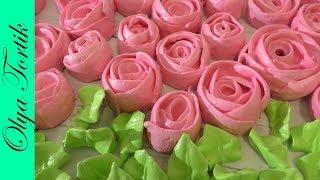 РОЗЫ ИЗ БЕЗЕ Меренга Как сделать розу из крема МК /// Olya Tortik Домашний Кондитер