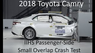 2018-2019 Toyota Camry IIHS Passenger-Side Small Overlap Crash Test (Extra Angles)