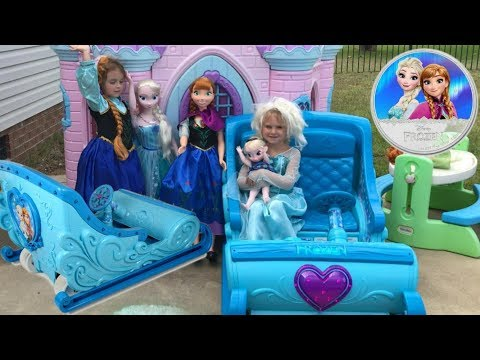 Thumbnail: Disney Frozen Sleigh Ride-On Princess Castle Egg Hunt Power Wheels Elsa Anna