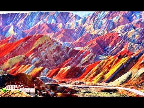 Gansu Province,  Astonishing Landscape of Mixed Vibrant Colors Mountains
