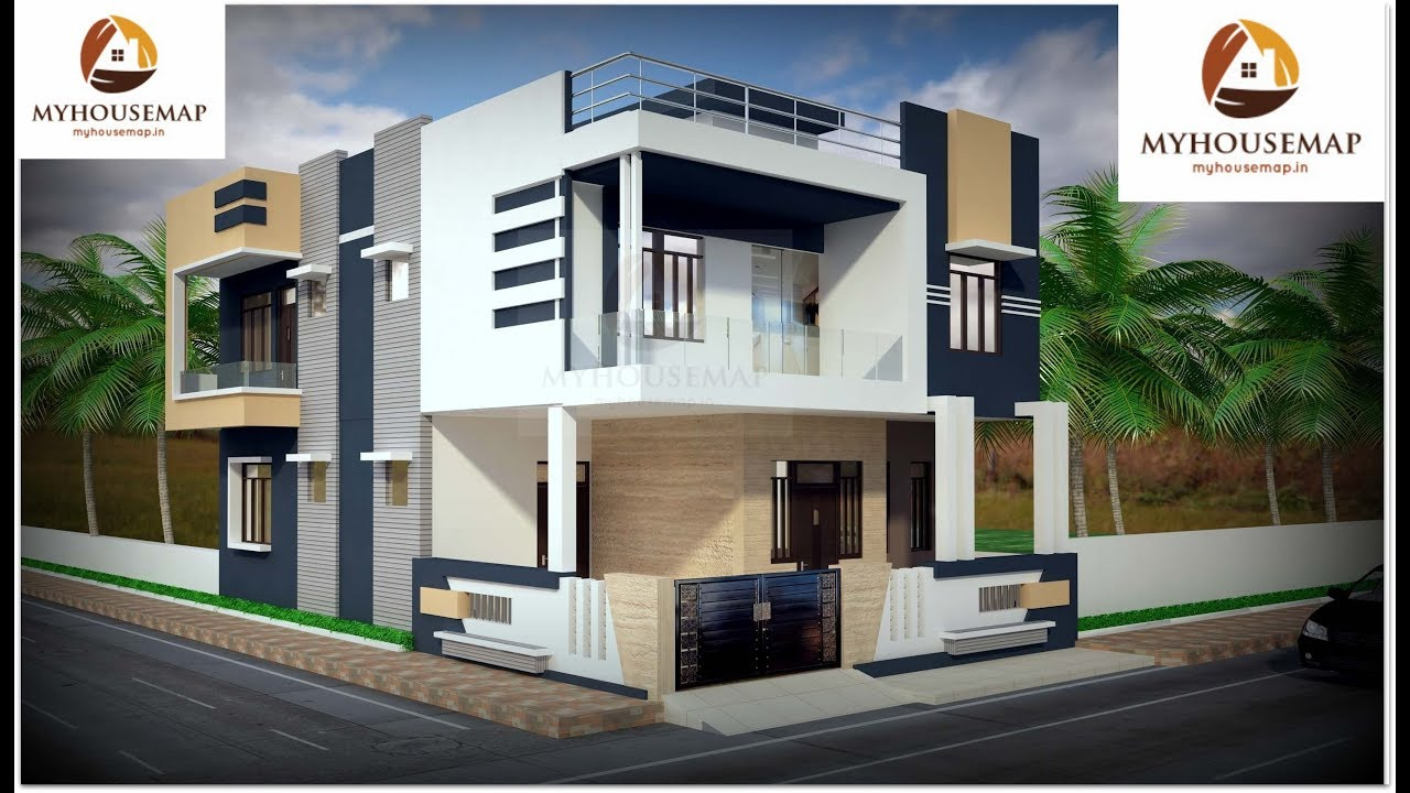White blue color home design and c shape balcony with glass railing home exterior design ideas