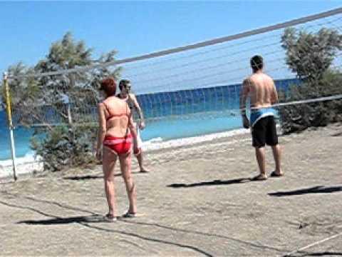 Lior Grynwald and Elad playing volleyball Sunshine Vacation Club Rhodes