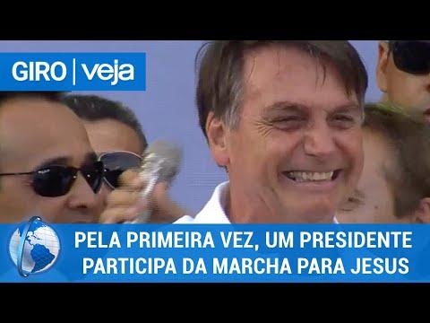 Giro Veja: Bolsonaro é o primeiro presidente a participar da Marcha para Jesus