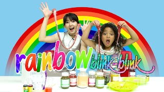 Rainbow Glitter Slime Challenge with Romaria